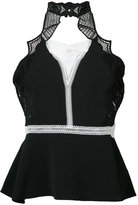 Jonathan Simkhai lace insert halter top - women - Polyester/Spandex/Elastane/Acetate/Viscose - XS