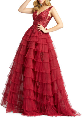 Mac Duggal Embellished V-Neck Sleeveless Layered Ball Gown
