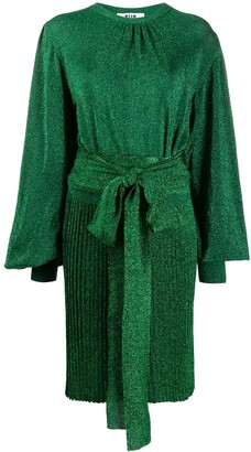 MSGM Tie Waist Glittery Dress