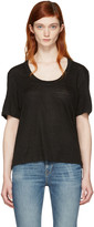 Frame Black Linen U-neck T-shirt