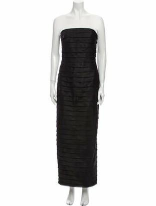 Carmen Marc Valvo Silk Midi Length Dress Black