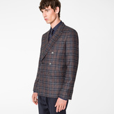 Paul Smith Men's Tailored-Fit Navy And Burgundy Check Wool-Blend Double Breasted Blazer