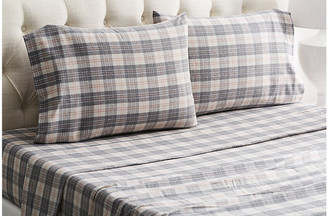 Belle Epoque Plaid Flannel Sheet Set - Gray/Rose Twin