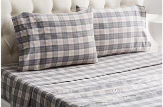 Belle Epoque Plaid Flannel Sheet Set - Gray/Rose