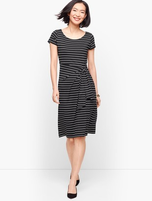 Talbots Faux-Wrap Jersey Shift Dress - Stripe