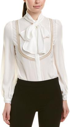 Nisha Outi Silk-Blend Shirt Bodysuit