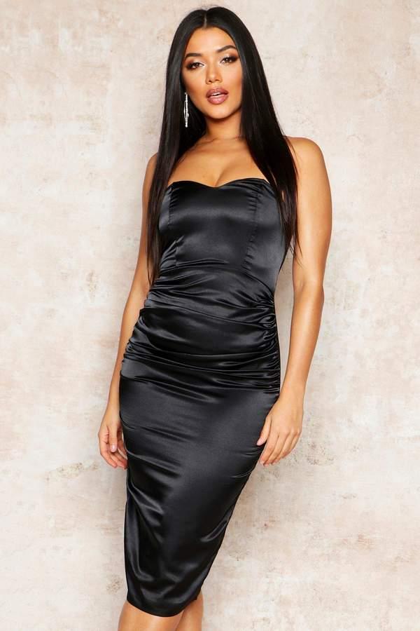 boohoo Satin Ruched Bandeau Midi Dress