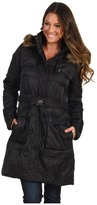 Vince Camuto Long Quilted Down Coat w/ Faux Fur Trim (Black) - Apparel