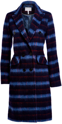 BCBGMAXAZRIA Women's Car Coats BLUE - Blue & Black Plaid Car Coat - Women