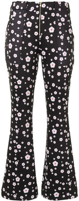 Cynthia Rowley Snow Daisies Bonded Flared Trousers