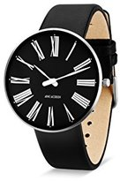Arne Jacobsen Unisex Quartz Watch with Black Dial Analogue Display and Black Leather Strap 53305