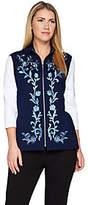 Bob Mackie Bob Mackie's Floral Embroidered Zip Front PonteKnit Vest