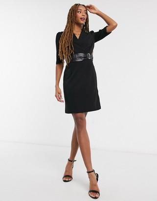 Morgan blazer dress with snake belt detail in black