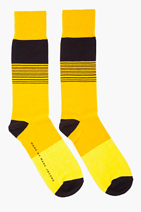 Marc by Marc Jacobs Black & Yellow Striped Dylan Cotton Socks
