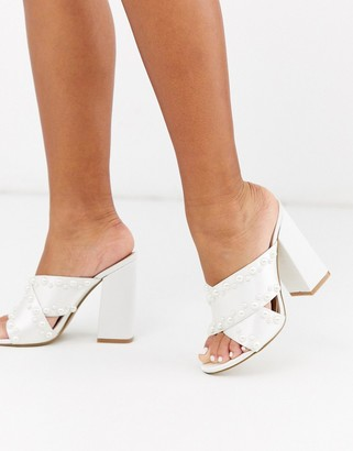 Be Mine Bridal Melisa pearl detail heeled mules in ivory satin