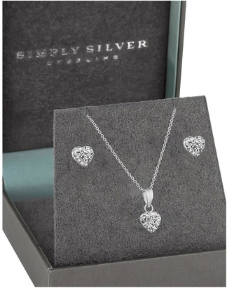 Simply Silver Silver Pave Crystal Heart Earring And Pendant Set