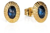 Laura Lee Jewellery Women's 9ct Yellow Gold Oval Blue Sapphires Sunburst Stud Earrings
