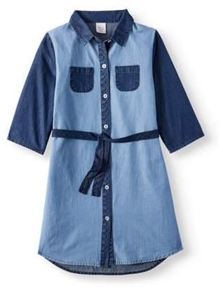 Wonder Nation Denim Pocket Tie Waist Dress (Little Girls, Big Girls and Big Girls Plus)