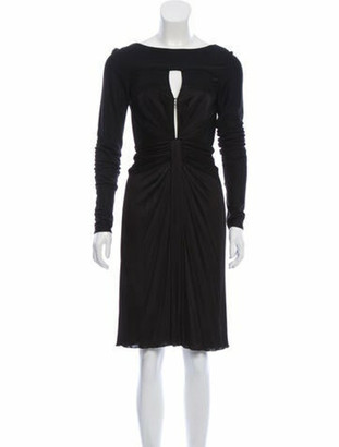 Versace Ruched Midi Dress Black