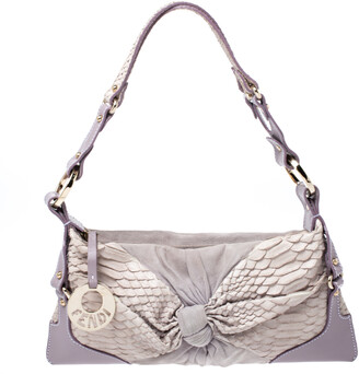 Fendi Lavender Python, Suede and Leather Knot Shoulder Bag