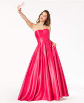 Blondie Nites Juniors' Strapless X-Cutout Ball Gown
