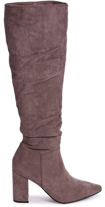 Linzi BONNIE - Mocha Suede Block Heel Knee High Ruched Boot With Pointed Toe