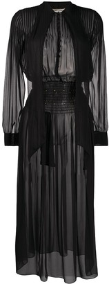 Saint Laurent Smocked Waist Sheer Dress