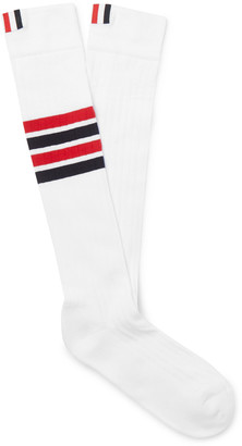 Thom Browne Striped Cotton Over-The-Calf Socks