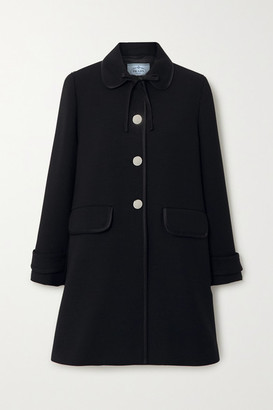 Prada Bow-detailed Satin-trimmed Wool Coat - Black