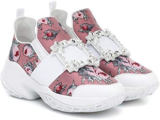 Roger Vivier Viv' Run floral leather sneakers