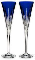 Waterford Lismore Diamond Flutes in Cobalt (Set of 2)
