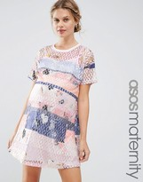 Asos Lace Printed Shift Dress With Slip