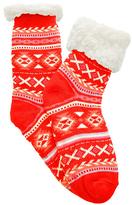 Angelina Red Fair Isle Fleece-Lined Slipper Socks