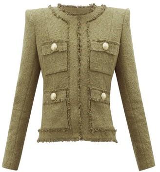 Balmain Raw-edge Cotton-blend Tweed Blazer - Womens - Khaki