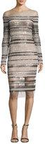 Pamella Roland Signature Sequined Illusion Long-Sleeve Dress, Blush/Black