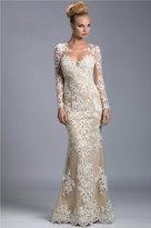 Janique - Long Floral Lace Illusion Gown K6431