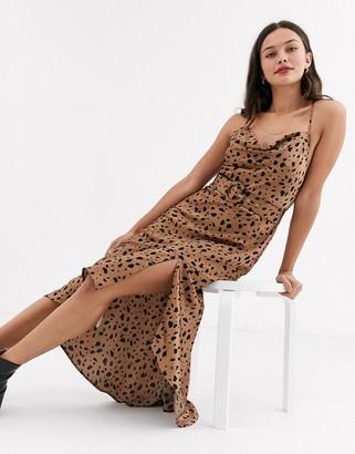 Moon River leopard print belted midi dress-Black