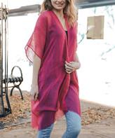 Leto Collection Women's Kimono Cardigans RASPBERRY - Raspberry Sheer Fringe-Trim Kimono - Women