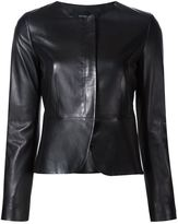 Derek Lam collarless fitted jacket - women - Cotton/Lamb Skin/Viscose - 38