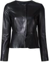 Derek Lam collarless fitted jacket - women - Viscose/Cotton/Lamb Skin - 36