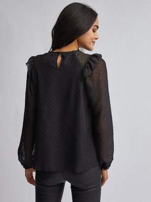 Dorothy Perkins Ruffle Front Long Sleeve Top - Black