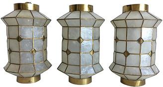 One Kings Lane Vintage Capiz Shell Lanterns - Set of 3 - C the Light Interiors - pearl/gold