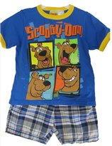 Scooby-Doo Little Boys Royal Blue Character Printed Plaid 2 Pc Shorts Set