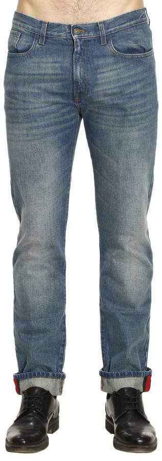 Gucci Jeans Straight Regular Fit Jeans With Cuff And Web Detail