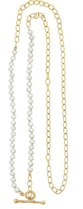 Cathy Waterman 17 Inch Freshwater Pearl Chain Necklace - Yellow Gold