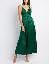 Charlotte Russe Satin V-Neck Maxi Dress
