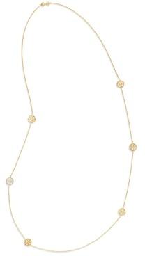 Tory Burch Kira Semi Precious Logo Strand Necklace, 38