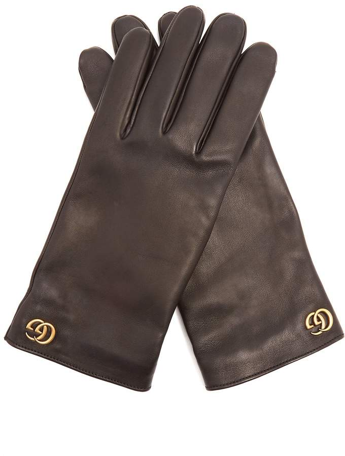 Gucci GG-plaque leather gloves
