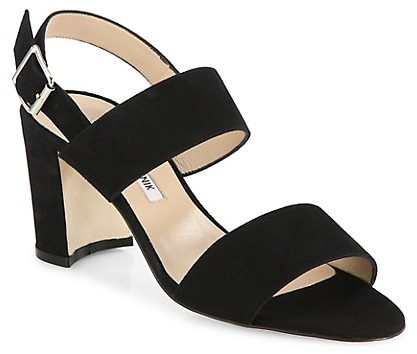Thumbnail for your product : Manolo Blahnik Khan Block-Heel Suede Slingback Sandals