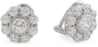 Sterling Silver Clip On Cz Flower Stud Earrings